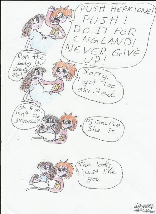 drappleluv:  Hello new Weasley! Hermione giving birth to Rose and Ron being at her side - please draw! gingerlikerupert