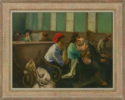A Railroad Station Waiting Roomca. 1940Raphael Soyer On display at the Corcoran Gallery in Washington DC.