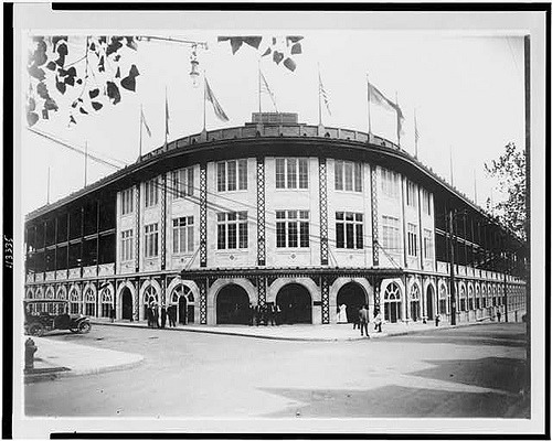 "thepittsburghhistoryjournal:  Forbes Field, 1909 (via)  On This Day in Pittsburgh History: June 30, 1909  Forbes Field, named after the head of the British forces in 1758, General John Forbes, was dedicated; 30,338 persons watched the Pirates lose the opening game there to Chicago, 3 to 2. [Historic Pittsburgh]  From The Pittsburgh Post-Gazette, by Robert Dvorchak, 2009:   The father of Forbes Field was Barney Dreyfuss, the Hall of Fame owner who wanted a fireproof structure of steel and concrete to replace Exposition Park, located in an industrial neighborhood on the North Side that was prone to flooding. With $1 million of his own money ($24 million in today's currency), he built the park on land acquired with the help of Andrew Carnegie, acclaimed at the time as one of the richest men in the world. Had Mr. Dreyfuss had some other hobby than betting on horses, Forbes Field may not have been a one-of-a-kind destination. Architect Charles A. Leavitt Jr., who had designed the grandstands at Belmont and Saratoga racetracks, was brought in. Forbes Field was his only ballpark, and the day it opened, the newspapers called it the greatest baseball palace in the world. Its revolutionary design featured lavatories specifically designated for women, public telephones, an underground parking garage and ramps instead of steps. (One could, however, sit in the left field bleachers and not be able to see home plate because of obstructed views.) The place was named after John Forbes, the British general whose forces built a road through the Pennsylvania wilderness to evict the French from Fort Duquesne in 1758. In his after-action report, the general called it ""Pittsbourgh,"" and the name stuck even if the spelling didn't. An overflow crowd of 30,338 — to that point the largest throng ever to witness a baseball game — attended the opener as Mayor William Magee threw out the first pitch. Days later, during the Fourth of July weekend, Forbes Field was the altar upon which the marriage of baseball and fireworks was consummated. Pyrotechnics were set off in the evening there following an afternoon baseball game. The Pirates gave the city its first World Series title and first championship parade the year Forbes Field opened as Honus Wagner outplayed Ty Cobb in a showdown of superstars. (more)   aaaaand, they tore it down to build the ugliest building on Pitt's Oakland campus. Assholes."