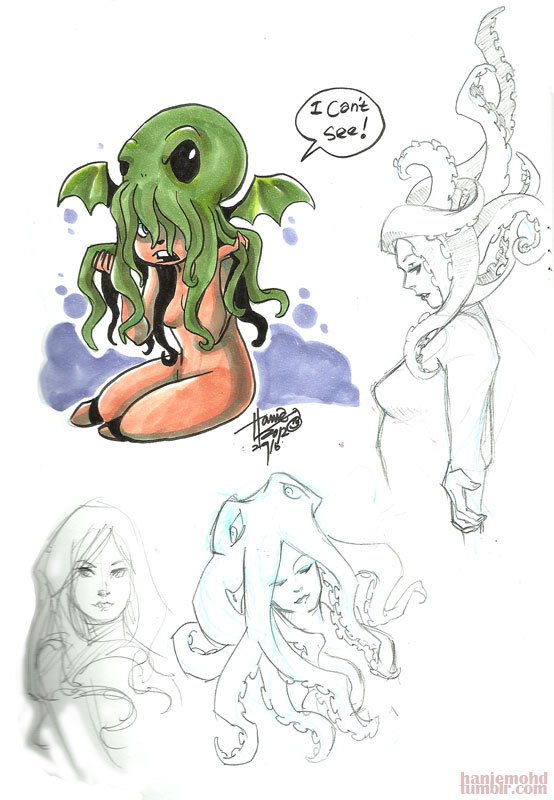 some sketches. Cthulhu girl!