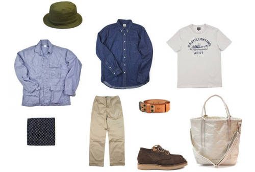 thebengalstripe:  look: tony roohper —01. Engineered Garments Pork Pie hat.—02. Post Overalls BDU Jacket.—03. Engineered Garments Pocket Square.—04. The Real McCoy's 41 Trousers.—05. orSlow Denim BD shirt.—06. The Real McCoy's Printed t-shirt.—07. Engineered Garments Workaday tote.—08. Deadstock Swedish Army belt.—09. Viberg 145 Oxford. via inventory magazine updates