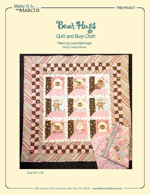 (via Bear Hugs Quilt and Burp Cloth by Theresa Romeo, Make It with Marcus, Marcus Fabrics)