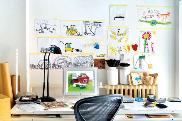 "Wonderfully fun children's desk located in a converted mill apartment in Helsinki, Finland.  This is a timely post for me as my 6 year old son is fascinated by my new desk at home.  He's at the age now where my wife and I need to start thinking about a ""home base"" for him as well for studying and writing.  This presents a great opportunity to instill the same values I place on my workspace."
