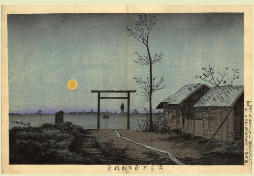 iamjapanese:  KOBAYASHI Kiyochika(小林 清親 Japanese, 1847-1915) The Taro shrine in Taura, Asakusa, by moonlight.  1881 Woodblock