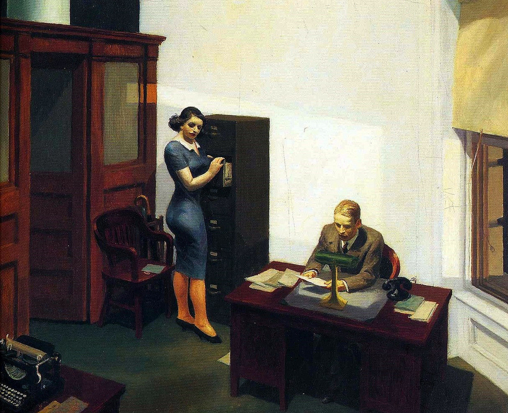 Edward Hopper - Office at Night, 1940. Oil on canvas