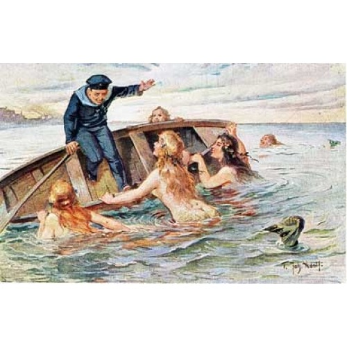 """ The Attack of the Mermaids "" ….. Vintage Postcard"