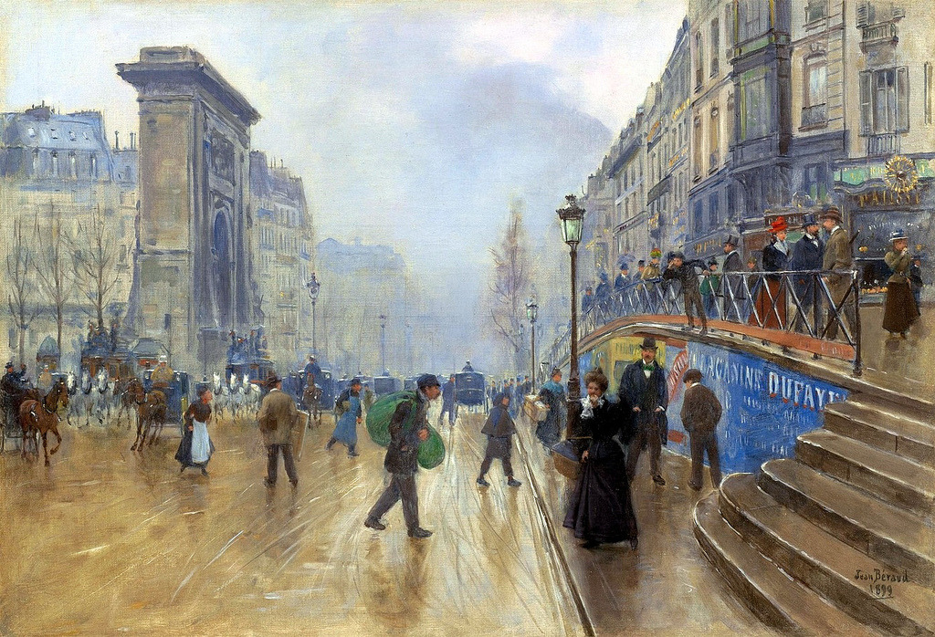 Jean Beraud - The Boulevard Saint-Denis in Paris, 1899. Oil on canvas
