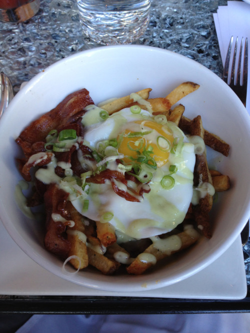 gastropost: Fried egg and bacon poutine at Origin restaurant. Classically Canadian!
