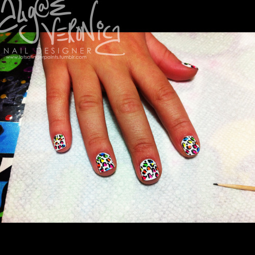 Neon Leopard Print over White