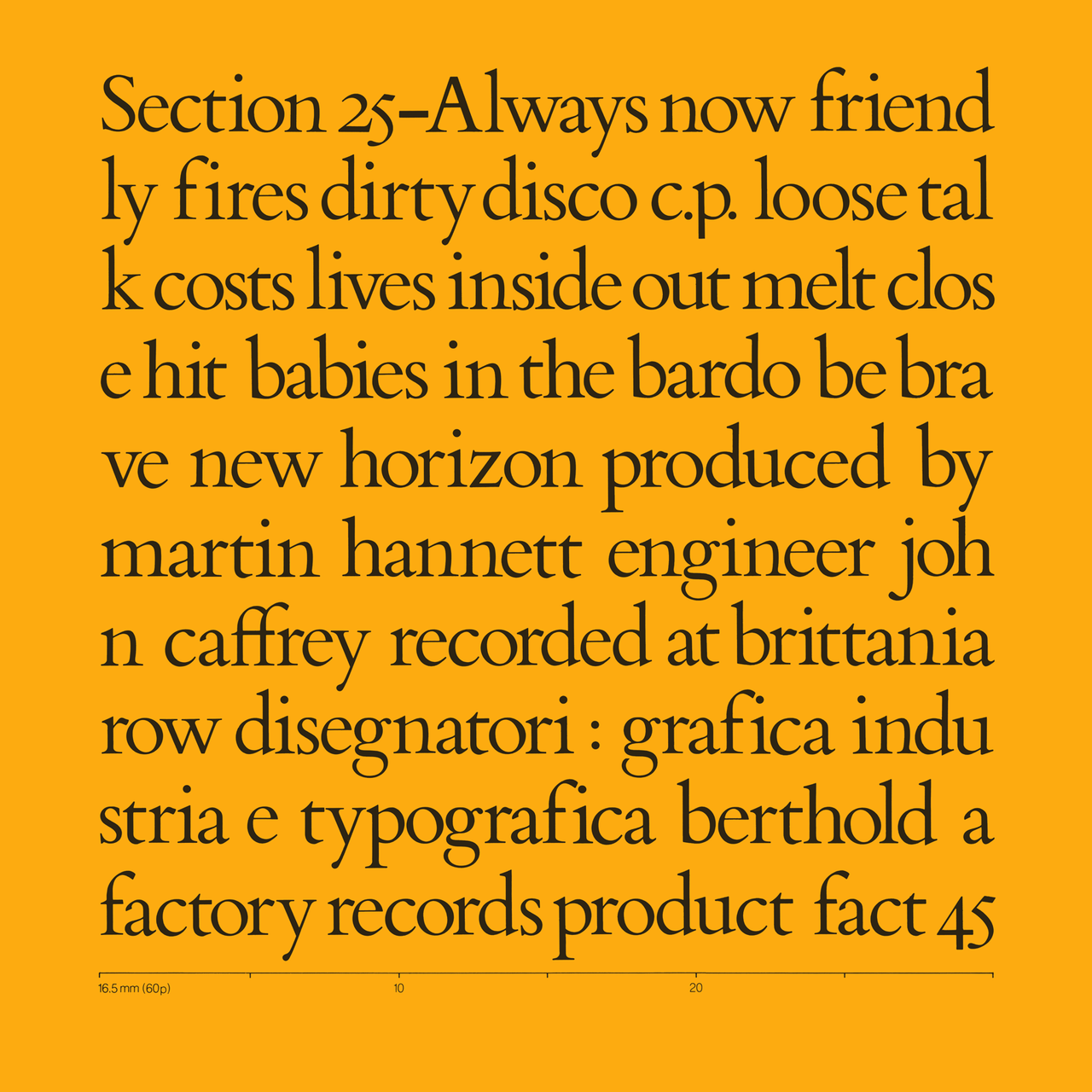 Section 25 'Always Now', Factory Records, 1981. Designed by Peter Saville.