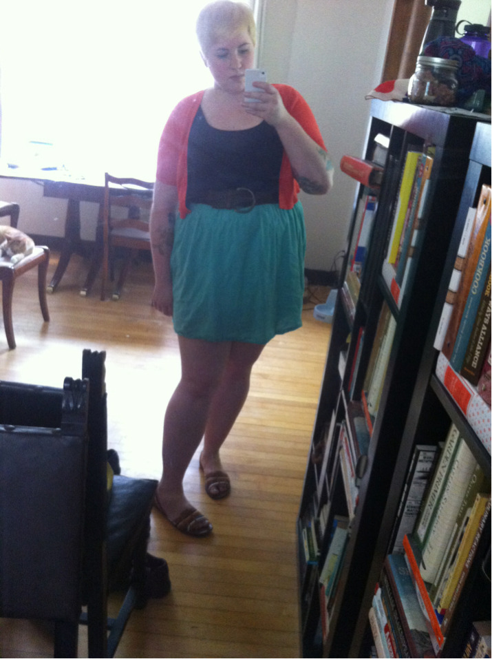 Short short skirt. Brunch w Esther and Kyle.   Dress- Anthropologie size 14(lolwut) Shoes belt cardi- target Glasses- thrifted Bag f21