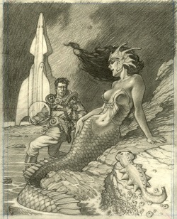 albinwonderland:  greggorysshocktheater:  (via Space Mermaid-Mark Schultz, in Frederic Contet's Schultz, Mark Comic Art Gallery Room)  I am very into the crocodile-like scales here