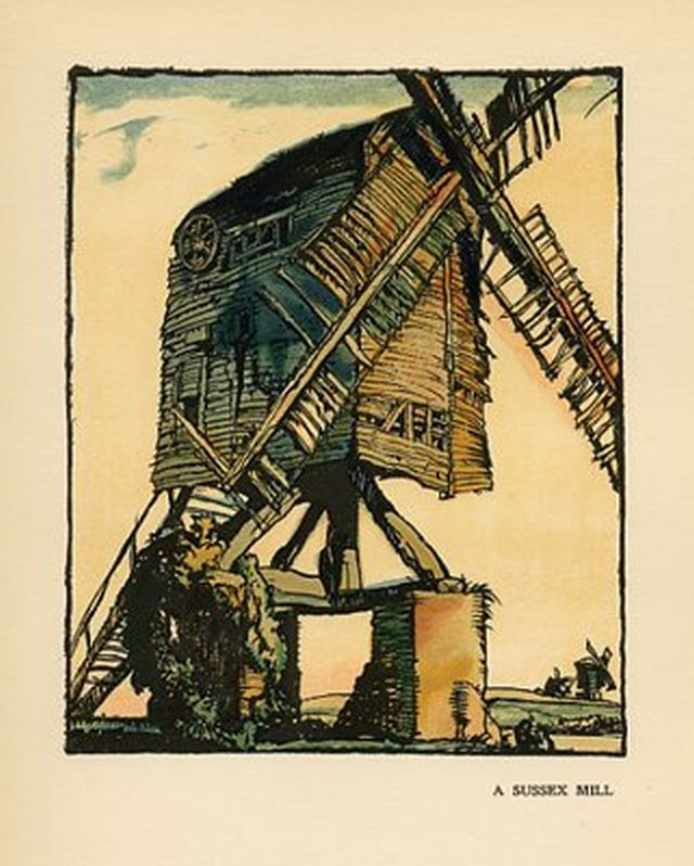 A Sussex Mill Artist: Frank Brangwyn LithographDate: 1920's     The black mill, Winchelsea Year 1908 via