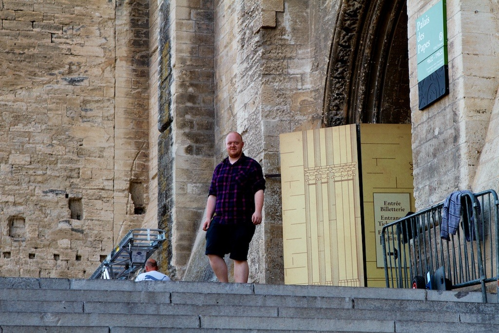"Master & Margarita at the Palais des Papes for the Festival d'Avignon 2012 Team Video: Adam ""Tiffany"" Young and Leo ""Lola"" Flint begin installing 17 projectors and 10km of cabling in 35 degrees celsius heat."