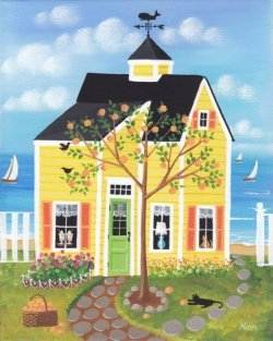 """Peach Tree Lane Cottage"" by KimsCottageArt on Etsy"