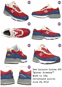 "New custom kicks for me, as a motivation to jog. New Balance 993 ""Mister Freedom®""Pick your own colors here, a chance to buy something useful made in the USA, and stay healthy ;-)"