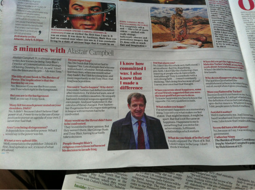Times. 30 June  Alistair Campbell interview