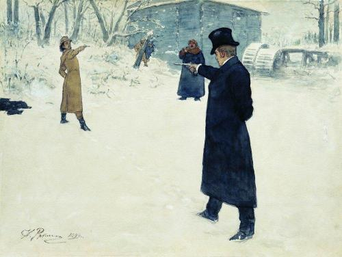 nobilior:  Ilya Repin - Duel Between Onegin and Lenski And a great story too.