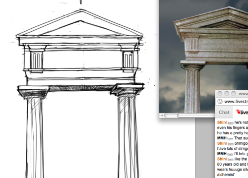Livestreaming! Architecture study. Also practicing drawing straight lines freehanded.