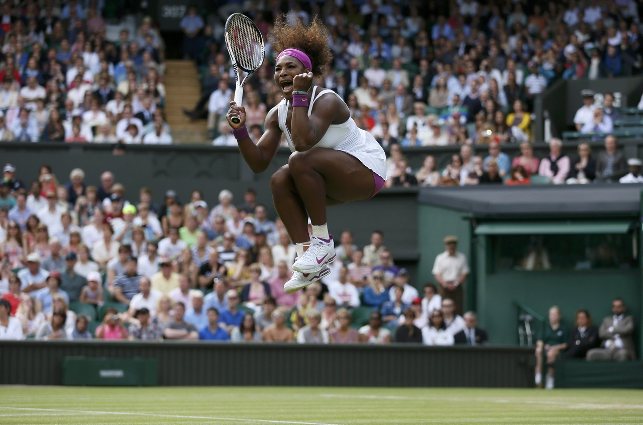 Jump for joy: While watching Serena Williams come from behind at Wimbledon, older sister Venus sat in the front row stifling a yawn.Nothing to worry about.Venus was correct – barely. Serena hit a Wimbledon-record 23 aces, held every service game and narrowly escaped an upset bid by Zheng Jie, winning 6-7 (5), 6-2, 9-7 in the third round Saturday.Photo: REUTERS/Stefan Wermuth