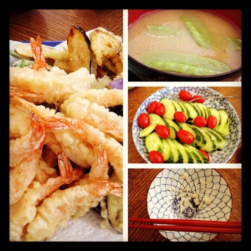 Homemade tempura, miso and a full, happy tummy! ☺ thank you Junko San!!!  (Taken with Instagram)