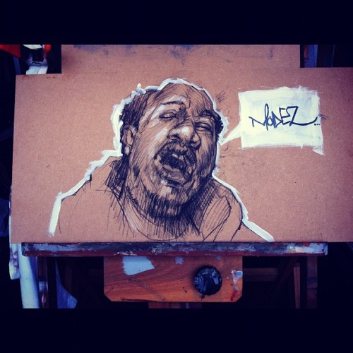 My #latenightsketchninjas Poor tribute to Mode2… #Charcoal and #acrylic  (Taken with Instagram) #art #illustration