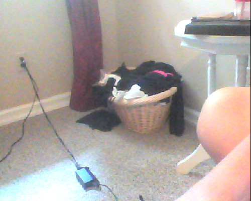 Can you guys see my kittens right there in my hamper sleeping? One is white and black and the other is pure black and they are so sweet they are taking a nap and staying cool aww. I'm so tempted to go over there and wake them up but I will let them sleep I guess *u*