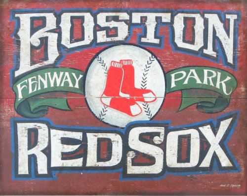 Boston Red Sox (faux) Vintage Print by ZekesAntiqueSigns. $15 Part of my town Tuesdays.