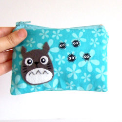 Small Totoro pouch with Soot sprites with light blue flowered fabric