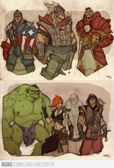 thenixdorf:  Pretty awesome I think :)  Amazing medieval(??) type Avengers.