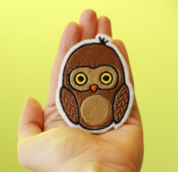OKsmalls Original —HOOs There—Customizable Embroidered Iron-On Owl Patch