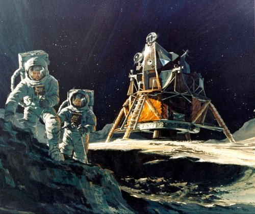 scanzen:  Artist's depiction of Apollo 13 crew on lunar surface, c1970.source: apolloarchive.com