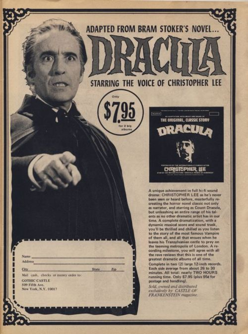 Dracula LP Starring The Voice Of Christopher Lee