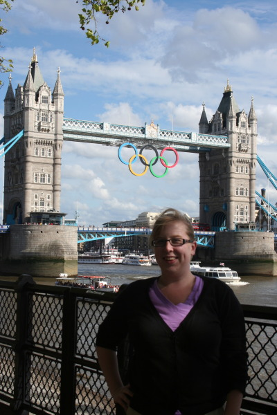 jessitheblonde:  Yeah, that's me. In London. In front of the Olympic Rings on Tower Bridge.