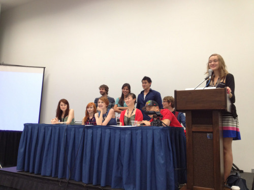 cooperburke:  Lizzie Bennett panel with new cast members, VidCon 2012 (New characters left to right: Mr. Collins, Caroline Lee, Bing Lee)   OH MY GOD BING LEE HOLY SHIT THEY ACTUALLY CAST HIM