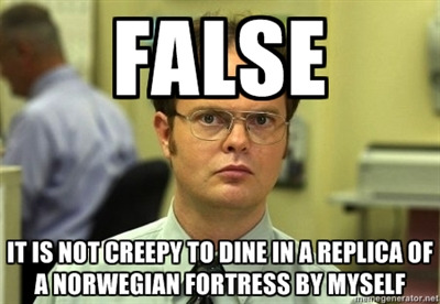Would you want Dwight Schrute at the next table, by himself, at the Restaurant Akershus princess character meal?