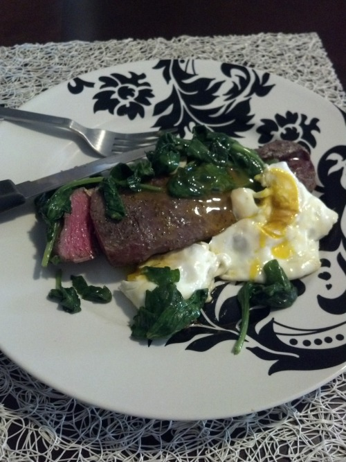 Breakfast of champions! Steak egg and spinach!