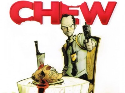 """Chew: Taster's Choice"" written by John Layman and illustrated by Rob Guillory. Tony Chu is our main character:  After he is recruited by the Special Crimes Division of the FDA, Tony's power helps the detective do everything from chasing serial killers to uncovering government conspiracies. I guarantee that the series will have you at the edge of your seat one minute and laughing so hard you fall out of it the next."