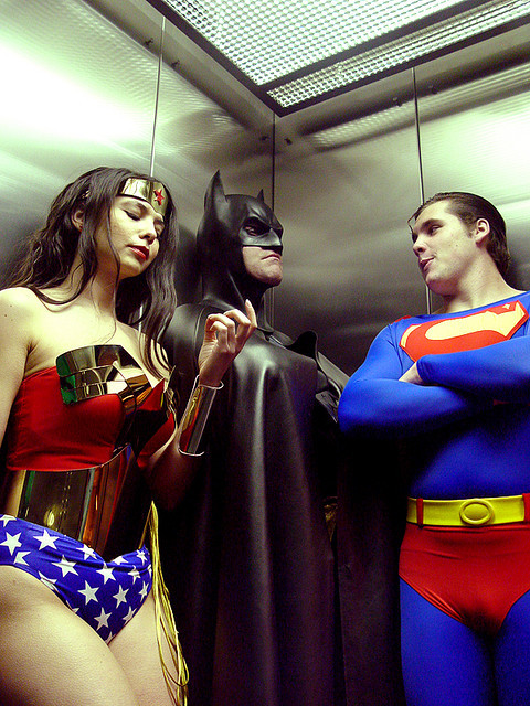 timetravelandrocketpoweredapes:  Wonder Woman, Batman, and Superman  by MargieC1022  Kinda sucks when one of us can't leap tall buildings in a single bound huh?
