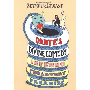 """Dante's Divine Comedy"" adapted by Seymour Chwast. Chwast explores Dante's inferno, purgatory, and paradise using the text of the well known epic as its inspiration. The illustrator's signature quirky style, contrast wonderfully with the horrific tortures of the damned, but, fair warning, this book is extremely abridged and could be a bit confusing to any readers who are not already passably familiar with Dante's work."
