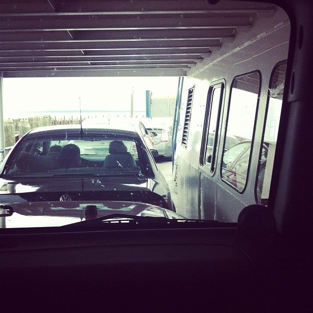 A wee bit crowded on the ferry.  (Taken with Instagram at Madeline Island Ferry)
