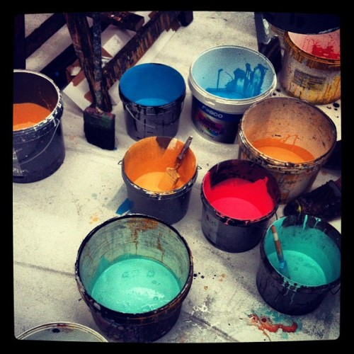 Our colour palette for the ROH #paint #art #bucket #royal #opera #scenic #instaphoto #iphone #painting #brush #colours  (Taken with Instagram)