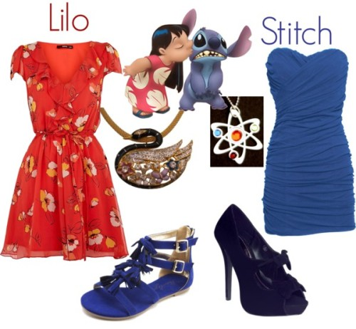cartooncouture:  Lilo & Stitch by teamrocketme featuring short corset dresses Oasis floral tea dress, £32Rare London short corset dress, £10Charlotte Russe suede sandals, $32Black pumps, £15Pendant necklace, $8.99Necklace, $22   Total: $152  OH. MY. GLOB.