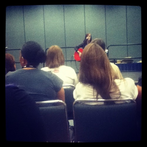 @xkirstynhippe is playing in the open mic room. Come now! #vidcon (Taken with Instagram)