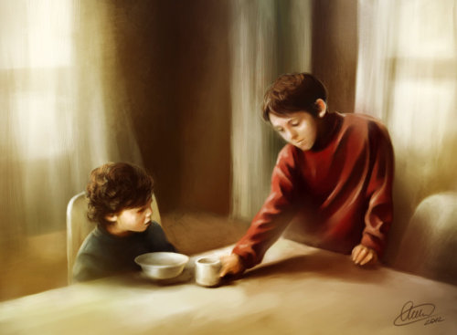 loveforthewinchesters:  melchan8:  Family… by ~Syllirium  And I will say it again… There are some absolutely amazing artists in this fandom This beautiful piece of art portrays Young Dean caring for his little brother, as always. If there is only enough for one… Dean will go without :'( This really pulls at my heart-strings <3 <3