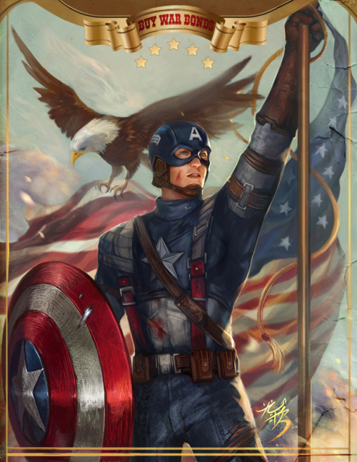 steve-starkers:  captain america happy JULY 4TH by jiuge
