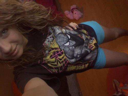 awhh no make-up, lookin all silly=) #spiderman=)