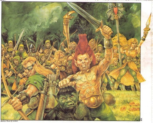 Box artwork for Citadel Miniatures Regiments of Reknown - Skarloc's Wood Elf Archers. Richard Hook, 1987.