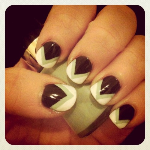 NOTD: minted chevrons! #mint #nailart #nails #nailvarnish #naillacquer #stripes #triangles #black #white #cutieclesfeatureme (Taken with Instagram)