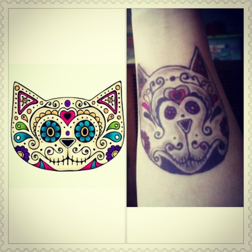 Had a dry-run of the #Mexican #Cat #Skull #design using #henna. #closeenough (Taken with Instagram)
